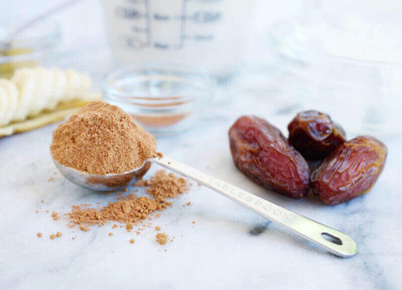 Ingredients for Cacao Smoothie, close up of cacao and dates