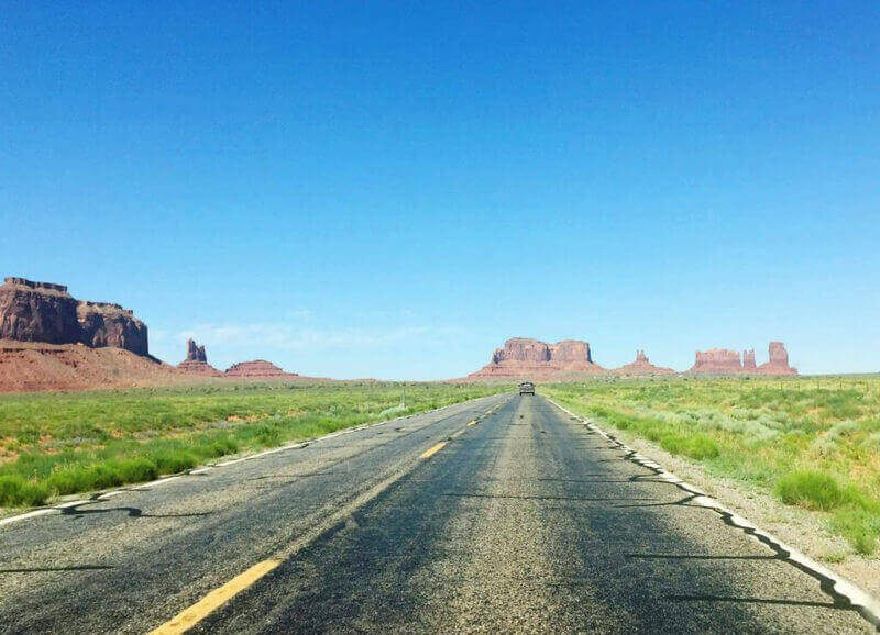The approach to Monument Valley.