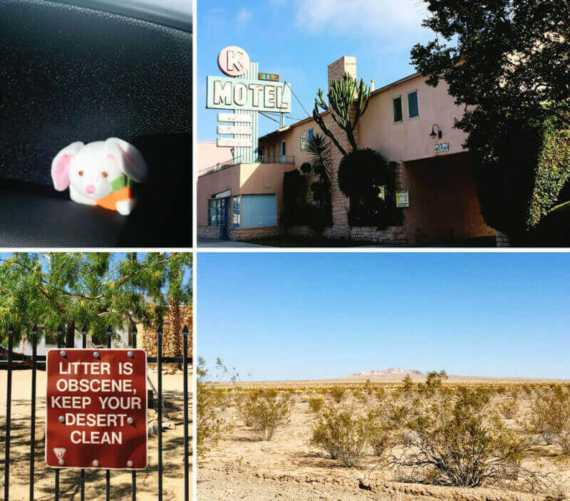 Clockwise from top left: our little bunny road mascot, courtesy of my dear friend Trish, a motel boasting of color-tv in LA; desert scenes; sign at a desert pit-stop