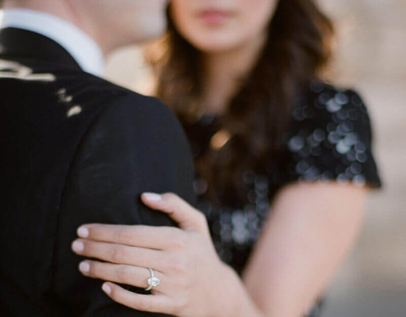 Engagement ring under the Bir Hakeim bridge