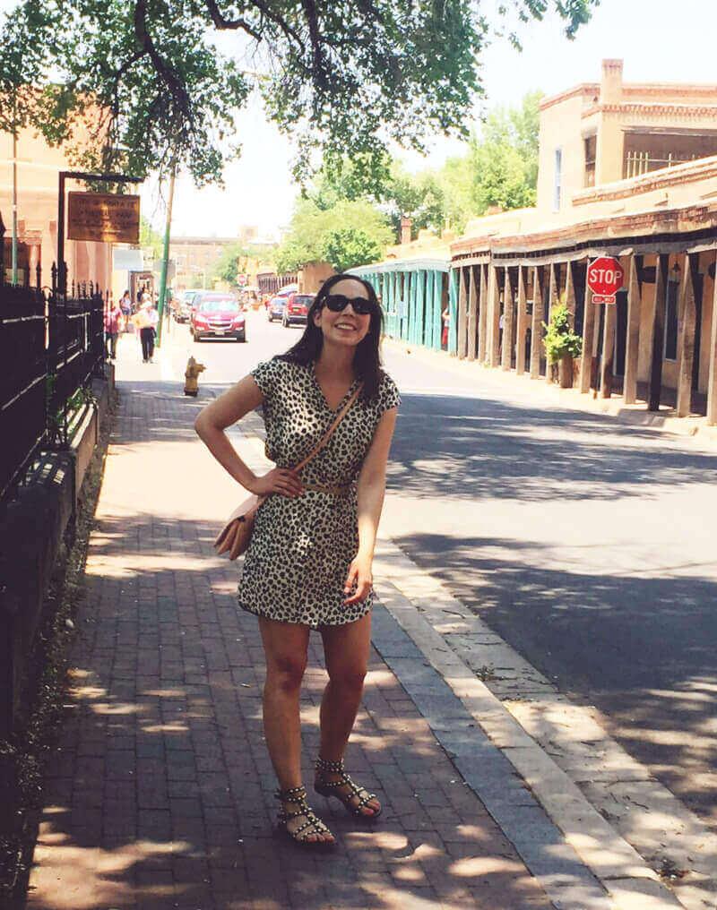 Eva Grall walking around Santa Fe