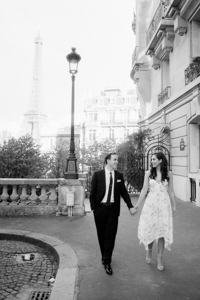 She's So Bright - Eva & Jon cotton candy engagement photo in Paris, France