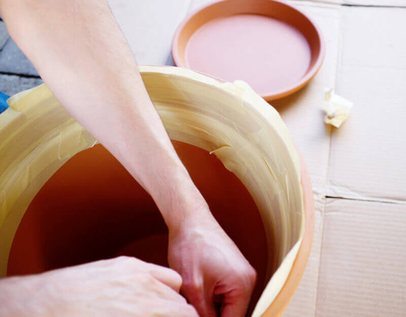 She's So Bright - Taping up the inside of the terracotta pot