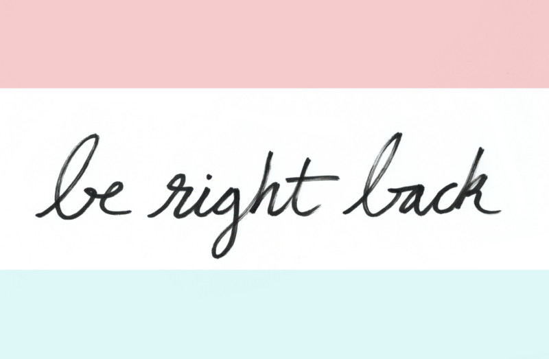 She's So Bright - Fourth of July, Be Right Back, BRB, graphic, handwriting, illustration, red, white and blue.