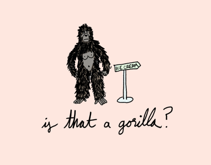 She's So Bright - What's Your Earliest Childhood Memory? Gorilla, monkey, primate, illustration, ice cream, memories, childhood.