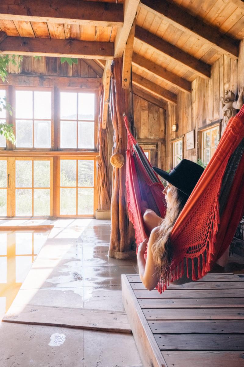 She's So Bright - Eva Goes West To Dunton Hot Springs, Telluride, Colorado, Travel, Old West, Log Cabin, Scenic, Travel Goals, Bathhouse, Hammock