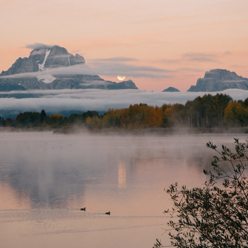 A Surreal Moonrise at Oxbow Bend - She's So Bright, Travel, Opinion, Colorful Pastels, Wyoming, Jackson Hole, Grand Tetons, Wanderlust, Morning