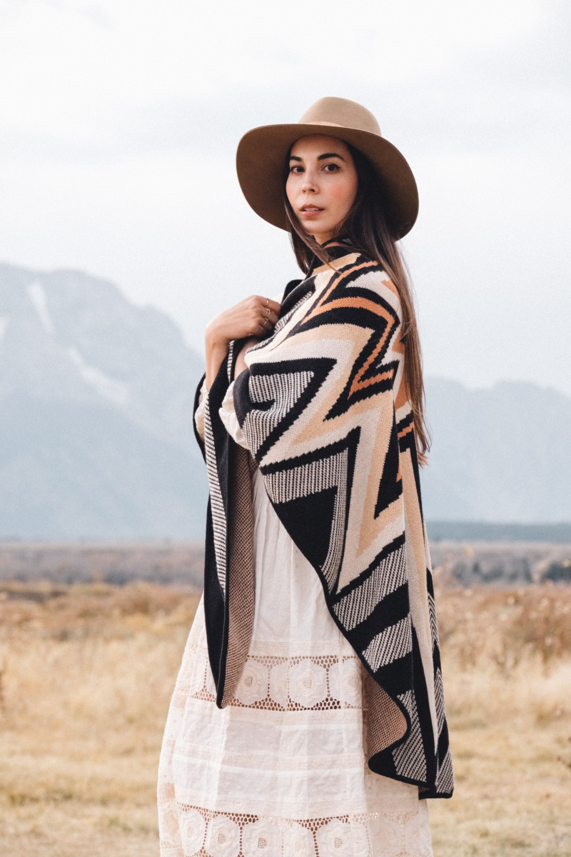 A New Year of Challenge and Adventure - She's So Bright, Grand Teton National Park, Adventure, Old West, Style, Western, Prairie, Zimmerman, My Style, Outfit, Inspiration, Log Cabin, Wanderlust, Wyoming, Fashion, Romantic, Jackson Hole, Poncho, Portrait